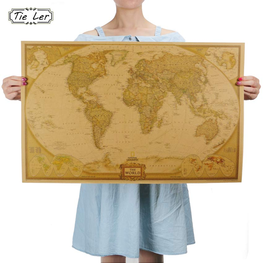 Female holding an unframed world map for size comparison. This Classic Reproduction of an Antique World Map brings History to life in a Poster bringing a Continental Flare to any room in your home! This Poster is manufactured using Kraft Paper and is suitable for Framing and will become a Simply awesome Home Decoration!( Frame Not included).