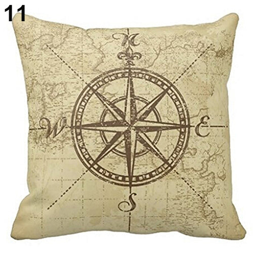 Map Compass Pillow Cover
