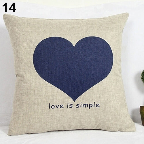 Love is Simple Blue Heart Pillow Cover