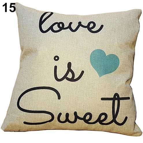 Love is Sweet Blue Heart Pillow Cover