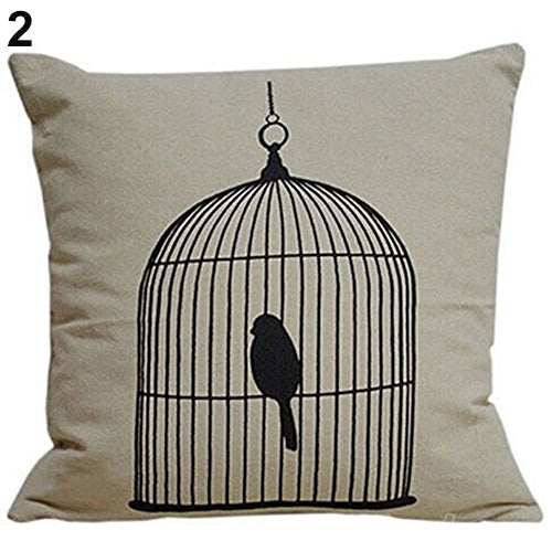 Bird in Birdcage Pillow Cover