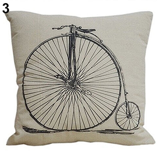 Large Wheel Vintage Bicycle Pillow Cover