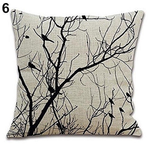 Birds in Tree Branches Pillow Cover