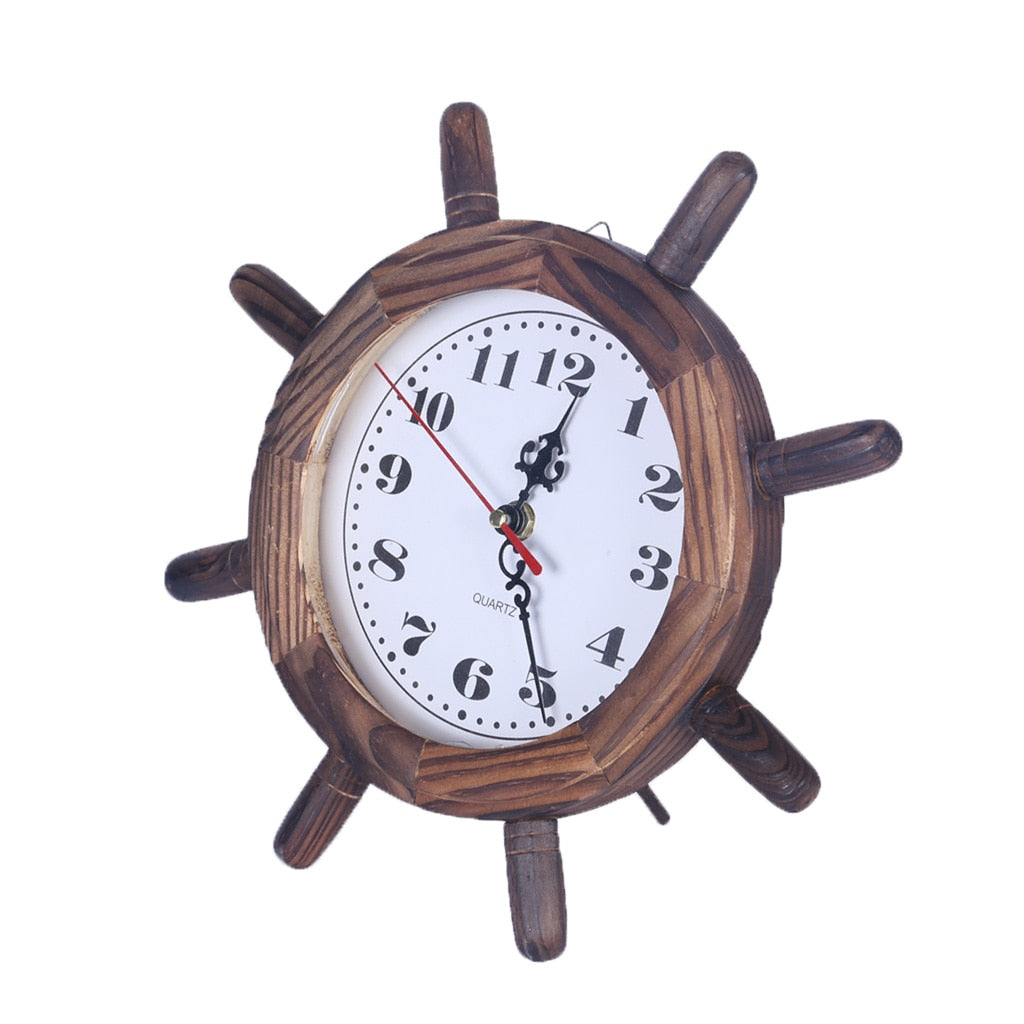 Nautical Ship Steering Wheel Hanging Wall Clock