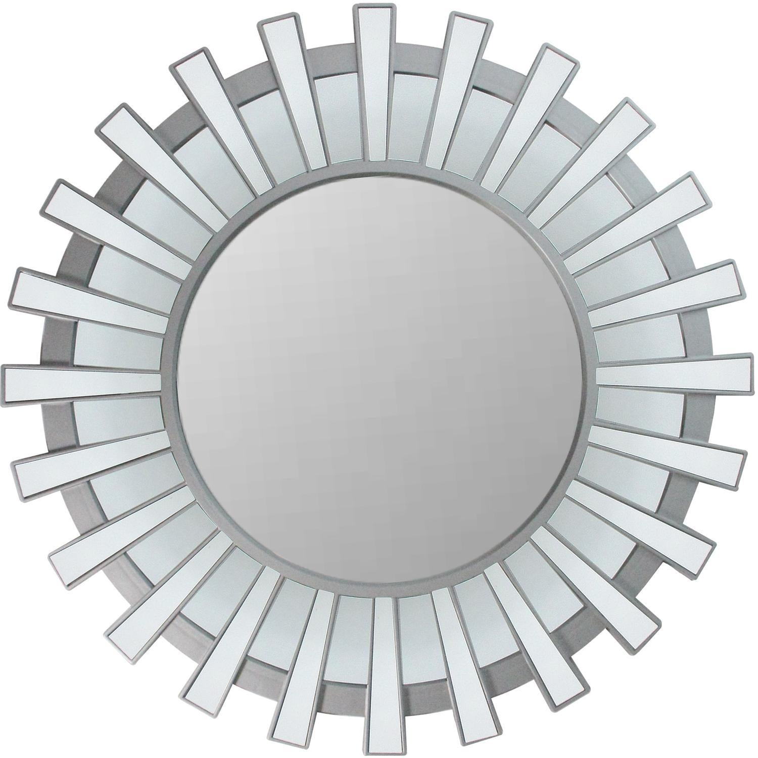 photo of the mirror without background. This beautifully crafted mirror will add a touch of modern elegance to any room in your home Features a round silver frame with mini mirrored columns inspired by a shimmering sunburst ! Can be hung vertically or horizontally Includes hanging hardware.