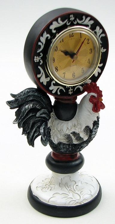 black and white rooster with red head table clock with the clock on the rooster's back.