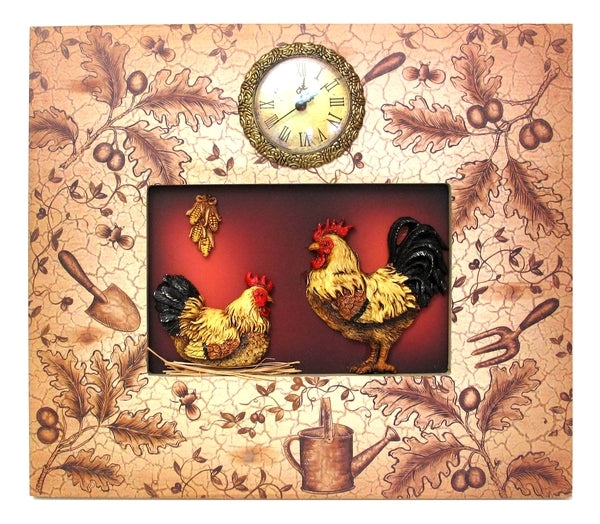 tan unique frame around a rooster and a chicken with a wall clock overhead.
