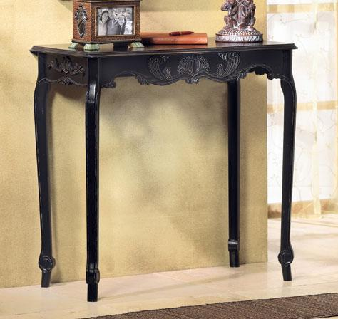 French Country Style Scallop Detail Hall Table~Distressed Black