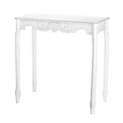 French Country Style Scallop Detail Hall Table~Distressed White