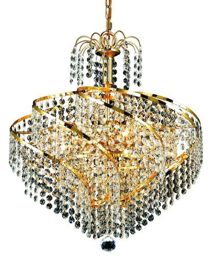 "This Spiral Collection Hanging Light fixture 8 Light 18 inch Gold Finish Elegant Cut Crystals Ceiling light is a Simply luxurious way to light any room in your personl castle! This light is a ""big"" 17 inches high and 18 inches in diameter and will look spectacular in your home!"