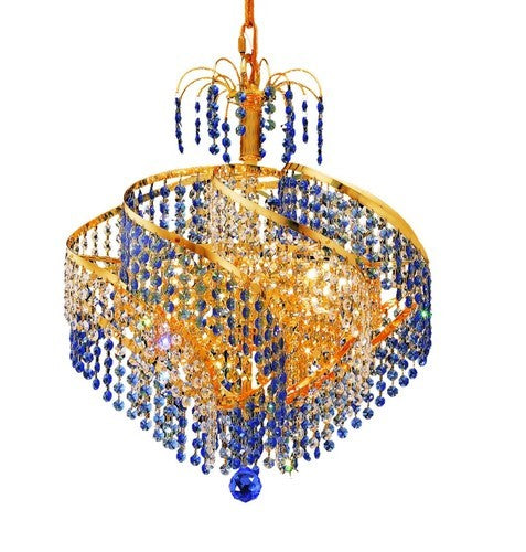 "This Spiral Collection Hanging Light fixture 8 Light 18 inch Gold Finish Royal Cut Crystals Ceiling light is a Simply luxurious way to light any room in your personl castle! This light is a ""big"" 17 inches high and 18 inches in diameter and will look spectacular in your home!"