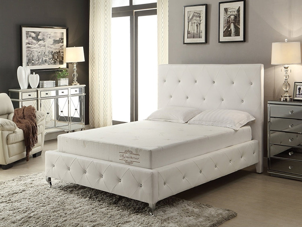 White Modern Crystal Tufted Bed with Upholstered Headboard