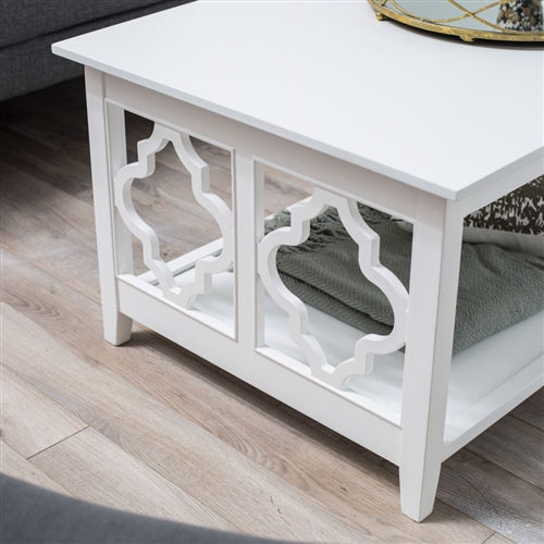 White Quatrefoil Coffee Table With Solid Birch Wood Frame Simply