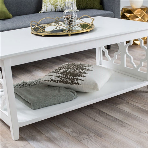 Merveilleux ... White Quatrefoil Coffee Table With Solid Birch Wood Frame
