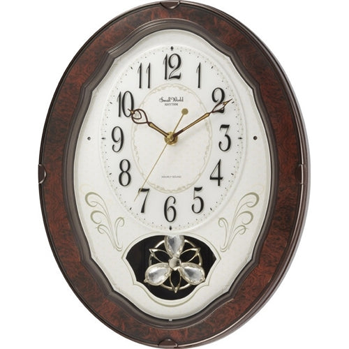 Wood Frame Pendulum Wall Clock - Plays Melodies on the Hour