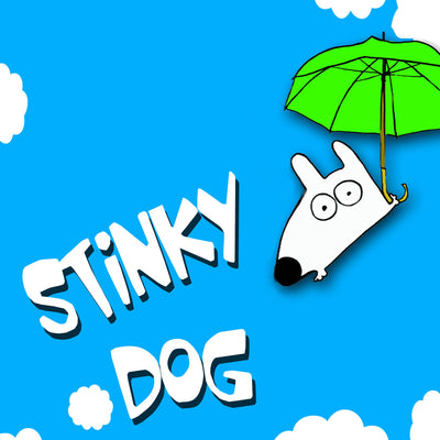 stinky dog floating in sky with fun green umbrella