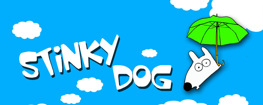 stinky dog playing with umbrella having fun in blue sky clouds