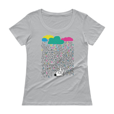 stinky dog in the colorful fun rain ladies tee