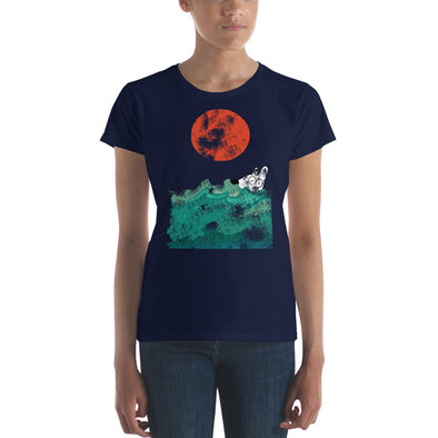 women's dog swim t-shirt ocean