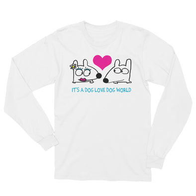 says it's a dog love dog world long sleeve tee with heart dogs