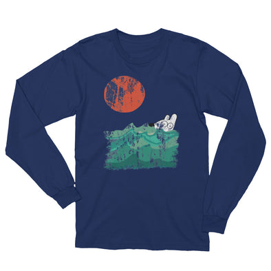 stinky dog swimming in ocean navy long sleeve tee