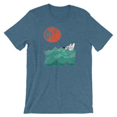 stinky dog swimming in ocean with sun teal tee
