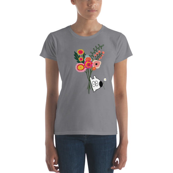 stinky dog with bouquet of flowers tee