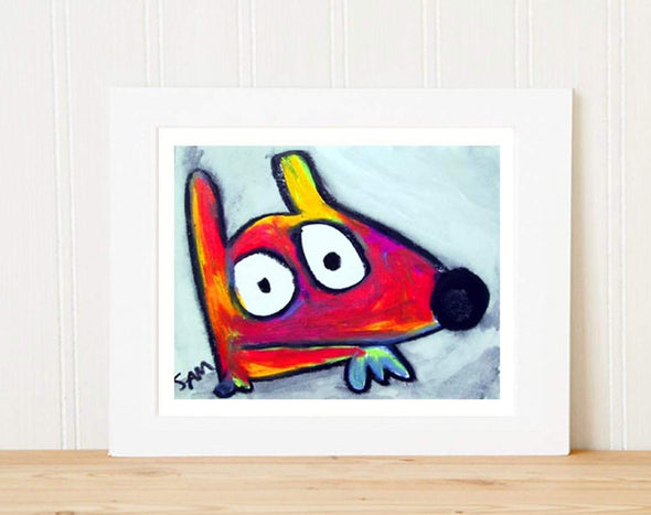 Matted Art Print | Stinky Dog Abstract