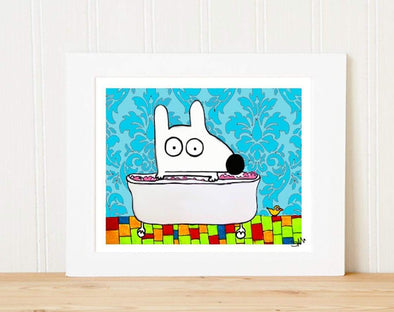 Matted Art Print | Stinky Dog Bath