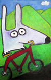stinky dog on a bike
