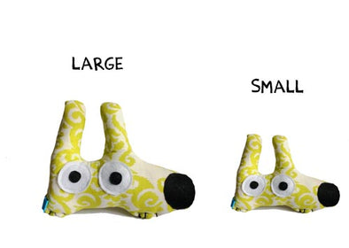 squeaky stinky dog toy yellow green pattern large and small