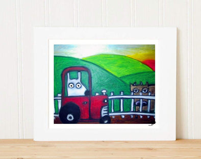 Matted Art Print | Stinky Dog On The Farm