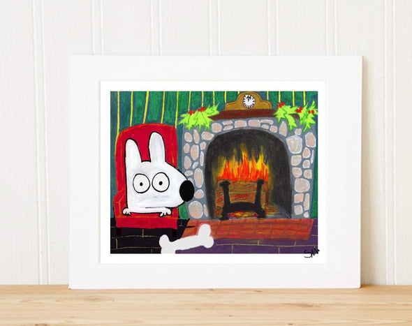 Matted Art Print | Stinky Dog By The Fire