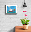room decor stinky dog framed print fishing