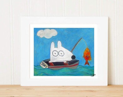 Matted Art Print | Stinky Dog Fishing