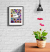 room decor stinky dog framed print flowers