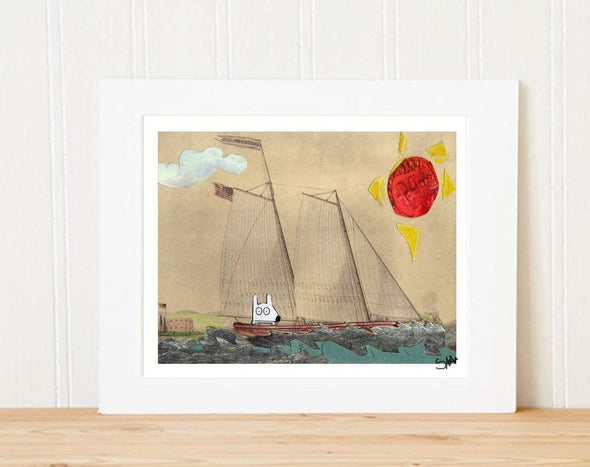 Matted Art Print | Stinky Dog Out To Sea