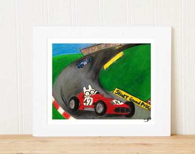 Matted Art Print | Stinky Dog Race Car Driver