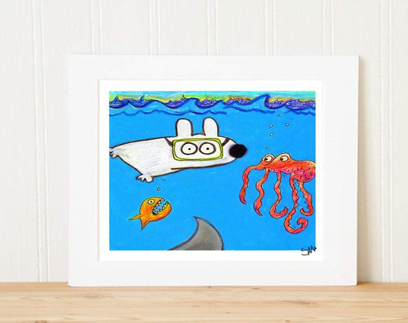 Matted Art Print | Stinky Dog Scuba