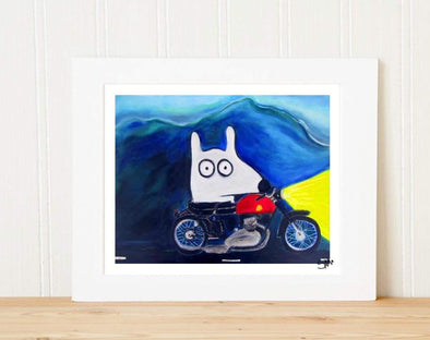 Matted Art Print | Stinky Dog Motorcycle