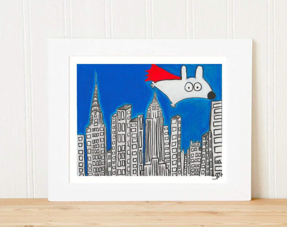 Matted Art Print | Super Stinky Dog Over New York City