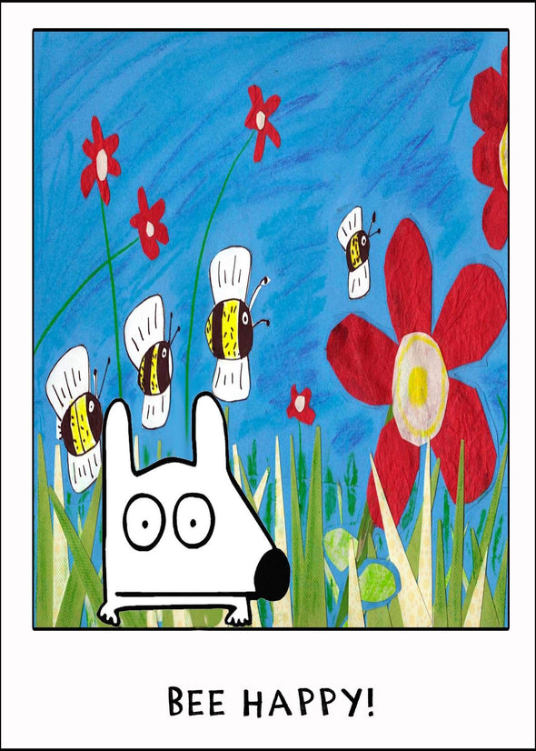 Stinky Dog greeting card with flower garden bees