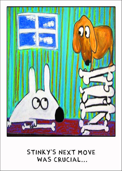 Stinky Dog greeting card stealing friends bone