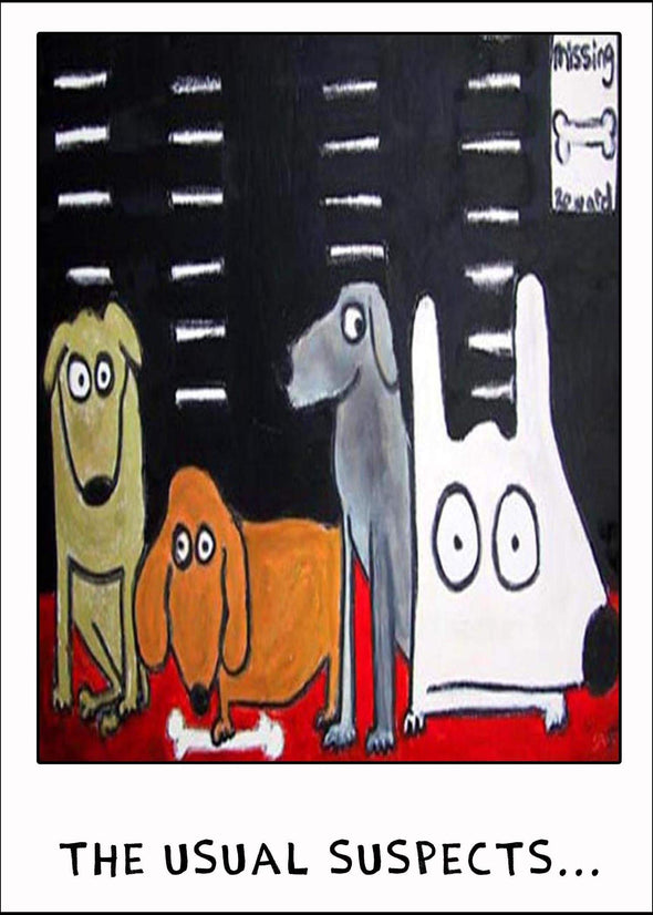 Stinky Dog greeting card line up stolen bone