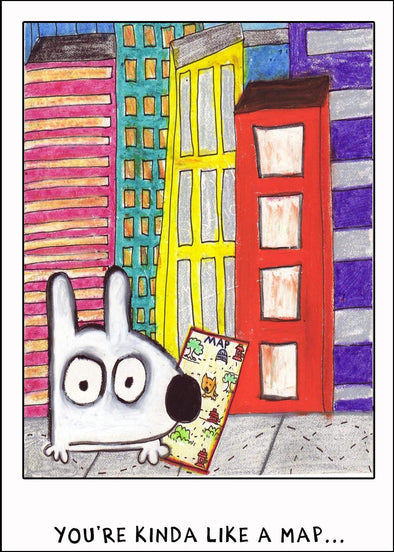Stinky Dog greeting card in the city