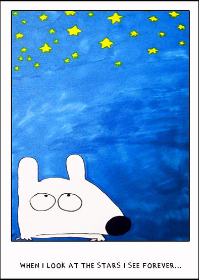 Stinky Dog greeting card looking at stars