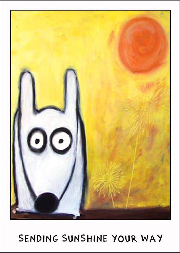 Stinky Dog greeting card in the sun
