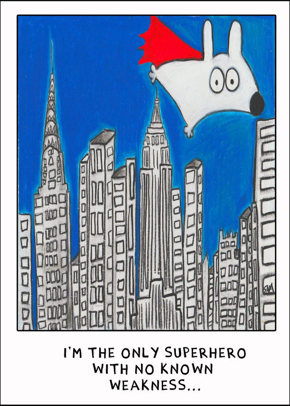 Stinky Dog greeting card super hero fly city