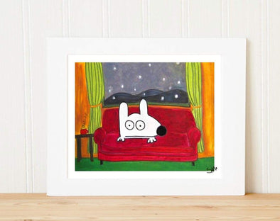 Matted Art Print | Stinky Dog At Home