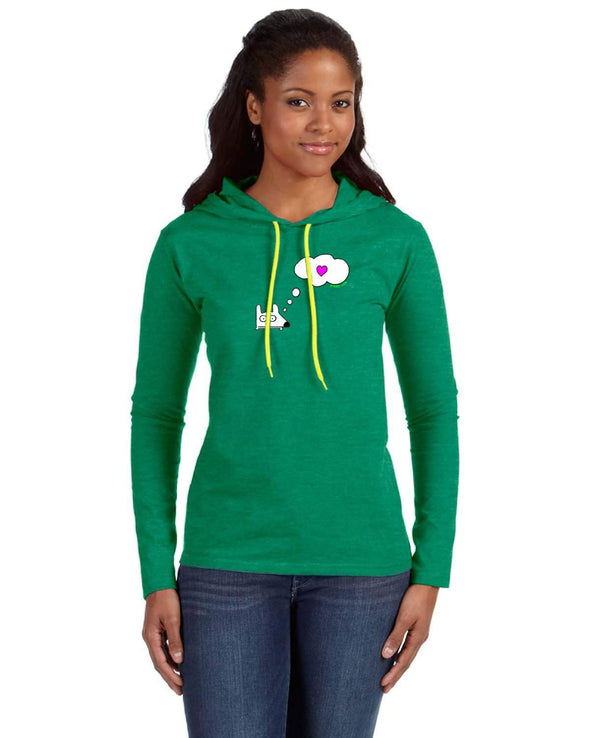 Stinky Dog women's long sleeve-Think Heart Hooded Long Sleeve T-Shirt